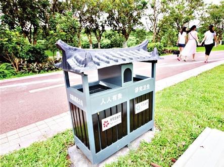 环卫垃圾桶厂家:莆田绶溪公园的仿古垃圾桶